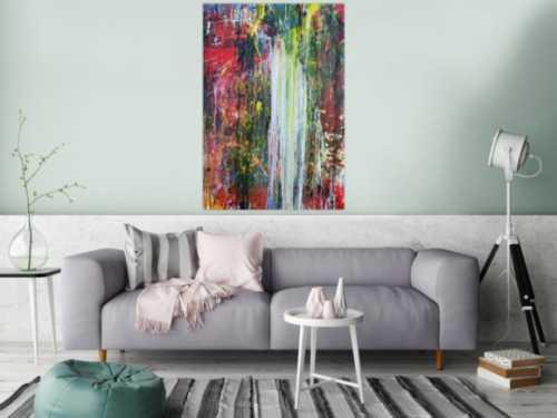 Sehr abstraktes modernes Gemälde zeitgenössisch handgemalt bunt einzigartig Meisterwerk