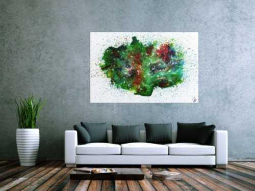 Abstraktes Acrylbild sehr bunt Explosion der Farben