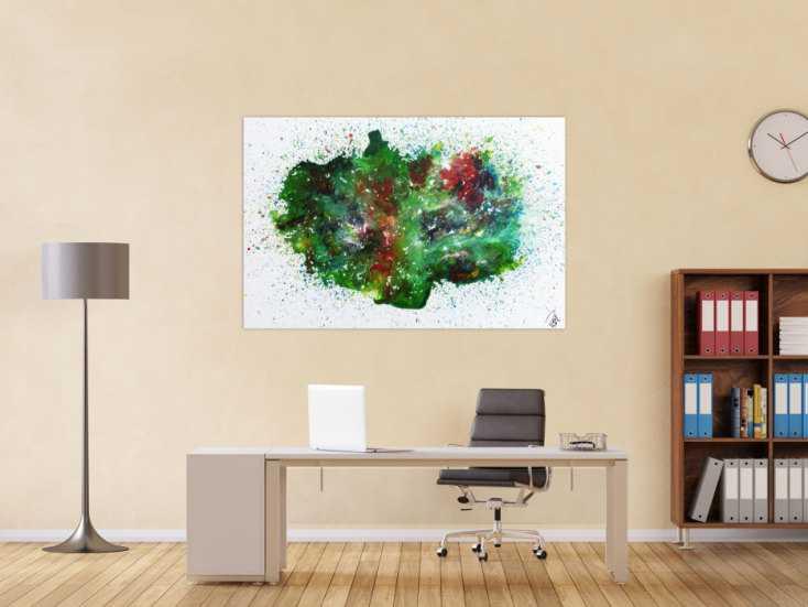 #919 Abstraktes Acrylbild sehr bunt Explosion der Farben 100x150cm von Alex Zerr