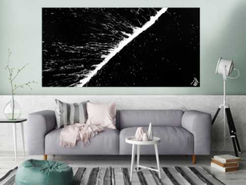 Minimalistisches Acrylbild schwarz weiß abstrakt modern schlicht Actionpainting Splash Art