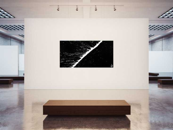#920 Minimalistisches Acrylbild schwarz weiß abstrakt modern schlicht ... 100x200cm von Alex Zerr