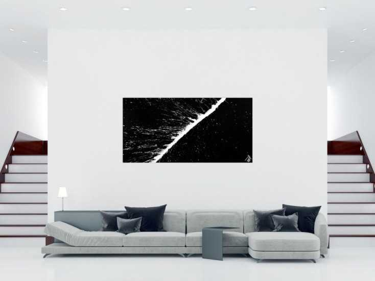 minimalistisches acrylbild schwarz wei abstrakt modern schlicht actionpainting splash art auf. Black Bedroom Furniture Sets. Home Design Ideas