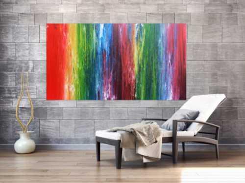 Sehr buntes abstraktes Acrylgemälde Fließtechnik lechtende und intensive Farben