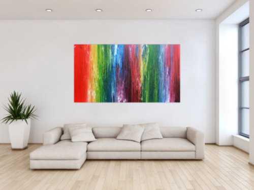 Sehr buntes abstraktes Acrylgemälde Fließtechnik leuchtende und intensive Farben