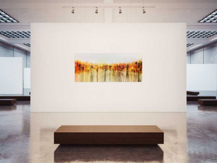 #923 Abstraktes Acrylgemälde in orange gel weiß Fließtechnik helle ... 80x200cm von Alex Zerr