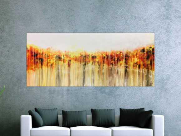Abstraktes Acrylgemälde in orange gel weiß Fließtechnik helle ... 80x200cm