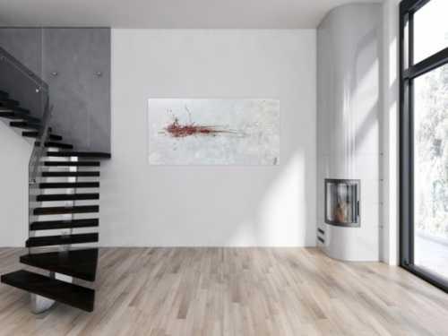 Abstraktes Acrylbild silber grau rot schlicht modern Action Painting