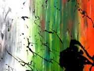 Detailaufnahme Abstraktes Bild modernes Acrylgemälde Mischtechnik Actionpainting Spachteltechnik