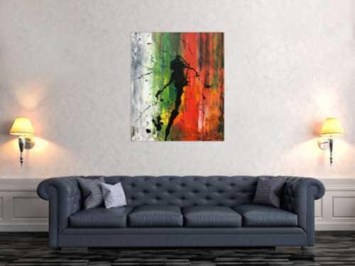 Abstraktes Bild modernes Acrylgemälde Mischtechnik Actionpainting Spachteltechnik