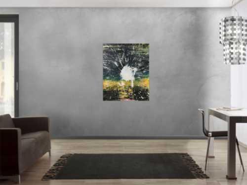 Abstraktes Acrylbild dunkel in schwarz gelb mit weißem Fleck Mischtechnik