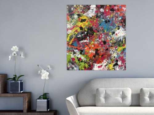 Abstraktes Bild sehr bunt Actionpaiting expressionistisch modern zeitgenössisch