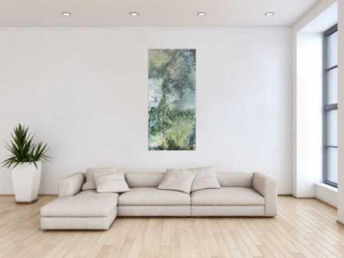 Abstraktes Bild Acrylgemälde Fließtechnik im Hochformat