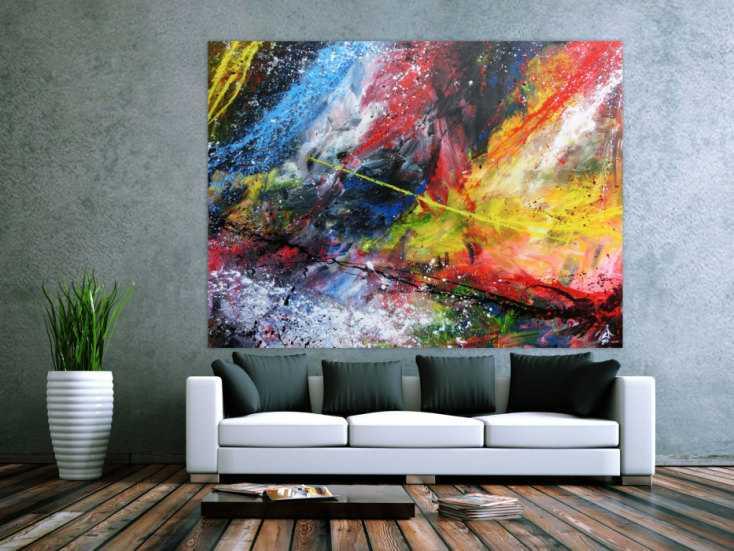 abstraktes acrylbild gro sehr bunt modern action painting. Black Bedroom Furniture Sets. Home Design Ideas
