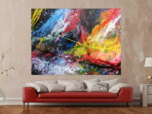 Abstraktes Acrylbild groß sehr bunt modern Action Painting