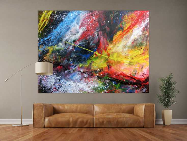 abstraktes acrylbild gro sehr bunt modern action painting auf leinwand 150x200cm. Black Bedroom Furniture Sets. Home Design Ideas