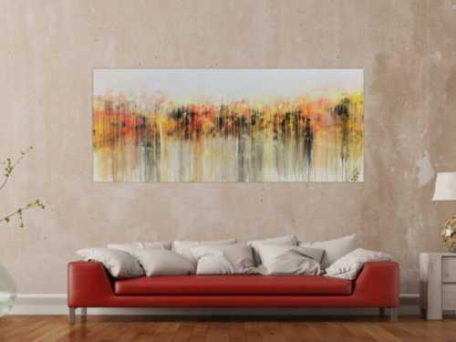 Abstraktes Acrylbild modern in hellen Farben Fließtechnik weiß gelb rot grau