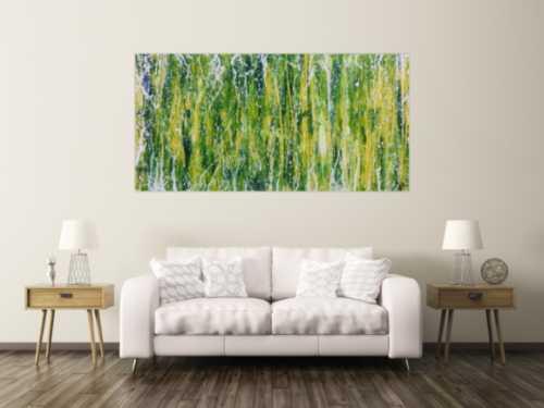 Abstraktes Acrylgemälde moderne Mischtechnik in grün blau gelb weiß