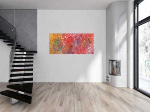 Abstraktes Acrylbild bunt Mischtechnik verlaufende Farben