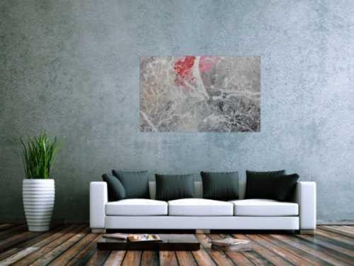 Abstraktes Acrylgemälde in grau Actionpainting modern in grau weiß rot
