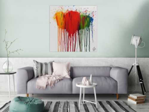 Modernes Acrylbild abstrakt bunte Farben Fließtechnik verlaufende Farbe