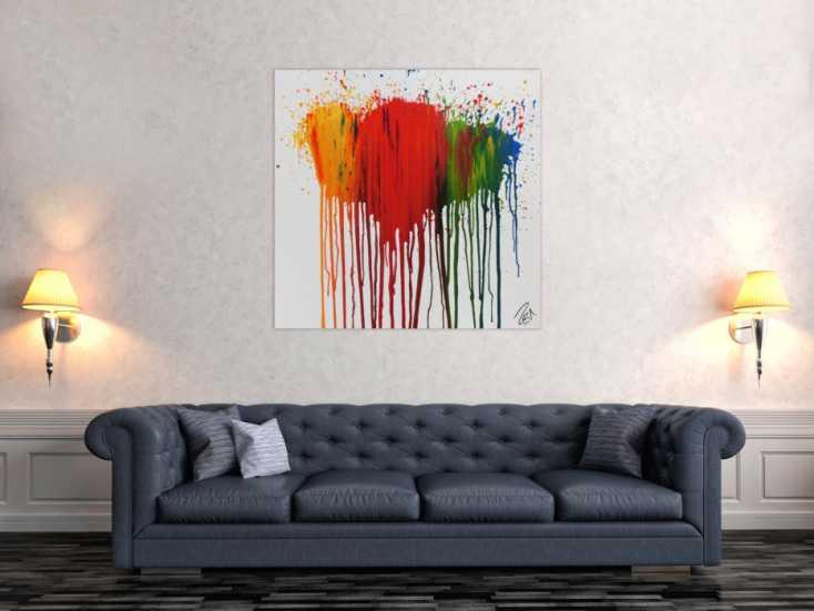 #937 Modernes Acrylbild abstrakt bunte Farben Fließtechnik verlaufende ... 100x100cm von Alex Zerr