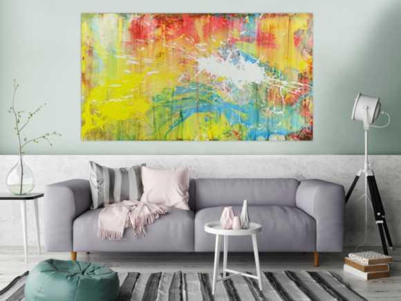 Abstrakts Bild aus Acryl bunte Farben Mischtechnik Actionpainting weiß gelb rot blau