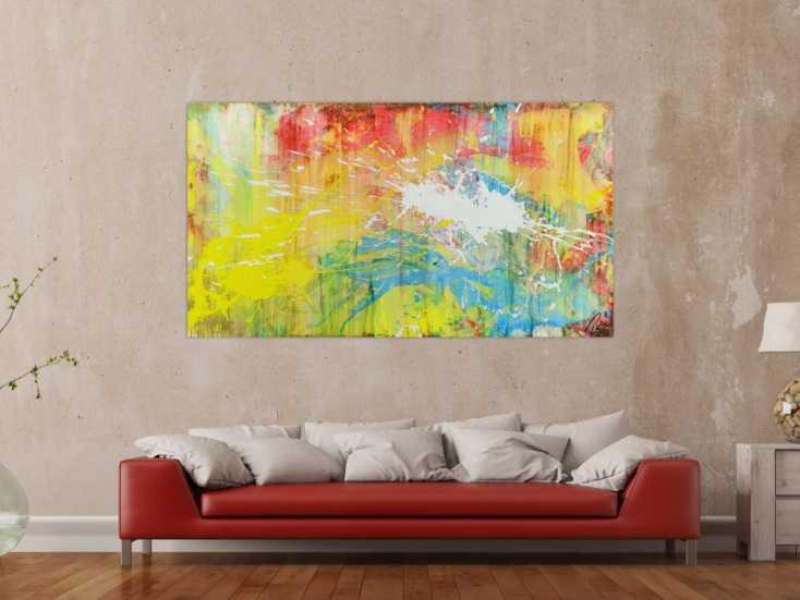 abstrakts bild aus acryl bunte farben mischtechnik actionpainting wei gelb rot blau auf. Black Bedroom Furniture Sets. Home Design Ideas