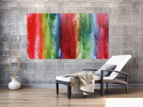 Abstraktes Acrylbild sehr bunt Fließtechnik modern sehr farbenfroh