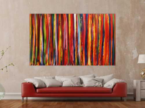 Abstraktes Gemälde Streifen modernes Acrylbild bunte vertikale Streifen