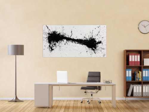 Minimalistisches abstraktes Acrylbild in schwarz weiß Action Painting Spash Art