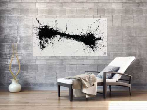 Minimalistisches abstraktes Acrylbild in schwarz weiß Action Painting Spash Art