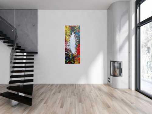 Abstraktes Acrylbild Action Painting bunt mit weißem Fleck