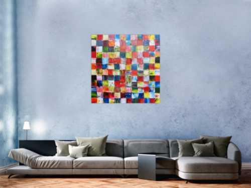 Abstraktes Acrylbild bunte Flächen modern mit vielen Farben