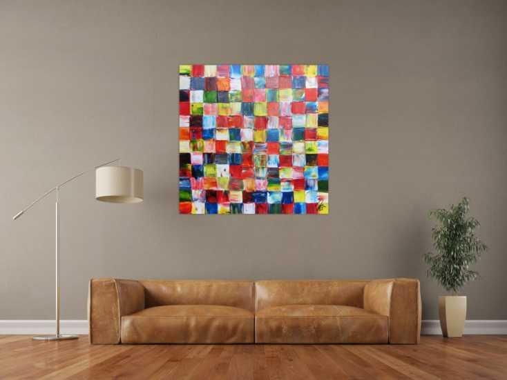 #943 Abstraktes Acrylbild bunte Flächen modern mit vielen Farben 100x100cm von Alex Zerr