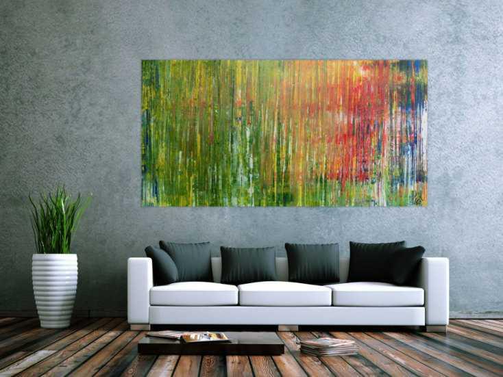 #944 Abstraktes Acrylbild bunt Spachteltechnik modern viele Farben 100x200cm von Alex Zerr