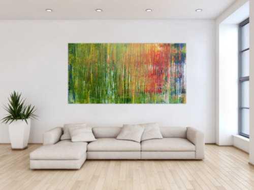 Abstraktes Acrylbild bunt Spachteltechnik modern viele Farben