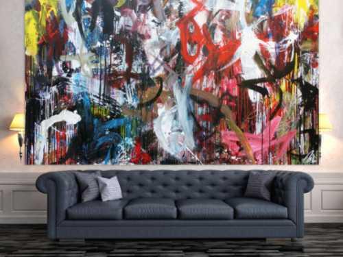 Abstraktes Acrylbild modernes Gemälde bunt sehr groß