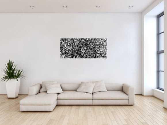 Abstraktes Acrylbild minimalistisches Gemälde schwarz weiß