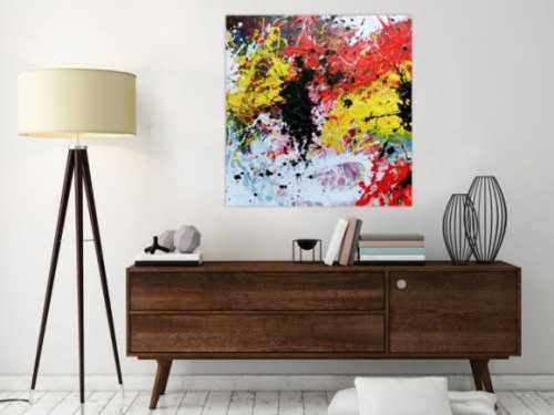 Abstraktes Gemälde modern Action Painting bunt weiß gelb rot schwarz