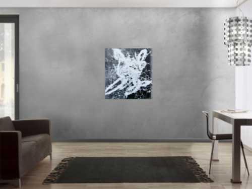 Abstraktes Gemälde schwarz weiß modern Action Paiting weißer Fleck