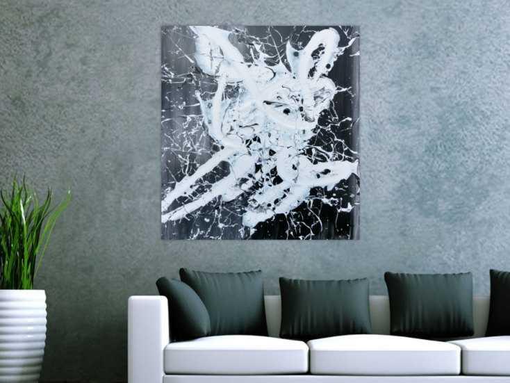 abstraktes gem lde schwarz wei modern action paiting wei er fleck auf leinwand 90x80cm. Black Bedroom Furniture Sets. Home Design Ideas