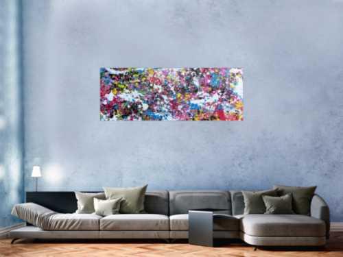 Abstraktes Actylbild Action Painting Flecken sehr bunt pink gelb weiß türkis scharz