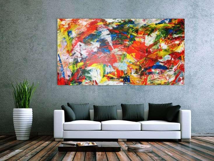 abstraktes acrylbild modern art bunt handgemalt auf leinwand in 100x200cm von alex zerr. Black Bedroom Furniture Sets. Home Design Ideas