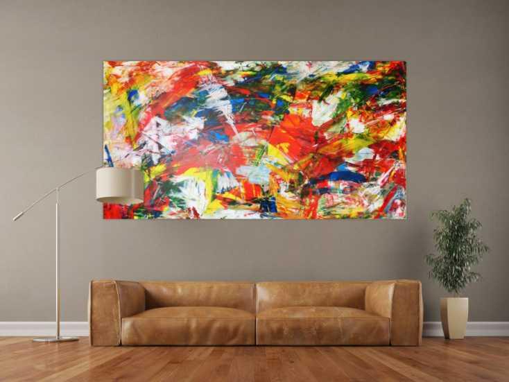 #95 Abstraktes Acrylbild modern art bunt 100x200cm von Alex Zerr