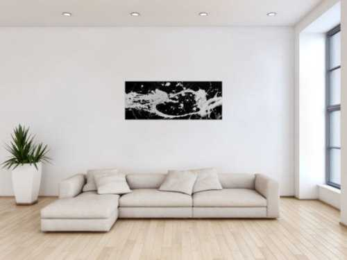 Abstraktes Acrylbild Action Painting schwarz weiß modernes Gemälde Fleck