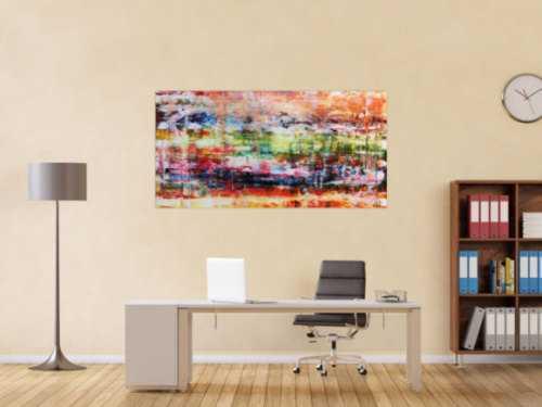 Abstraktes Gemälde Spachteltechnik sehr bunt modern helle bunte Farben