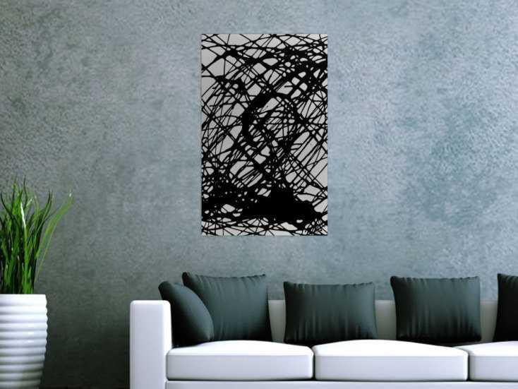 minimalistisches abstraktes gem lde schwarz wei schwaze streifen auf leinwand 80x50cm. Black Bedroom Furniture Sets. Home Design Ideas
