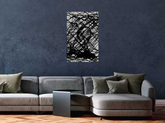 Minimalistisches abstraktes Gemälde schwarz weiß schwaze Streifen