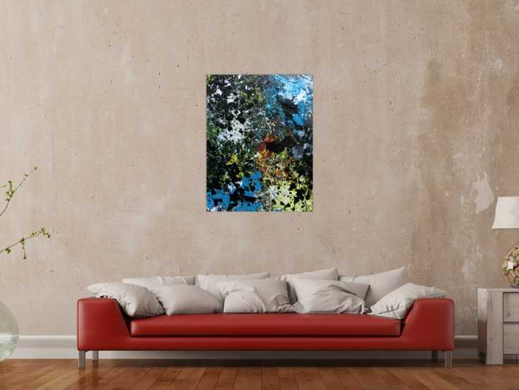 #953 Abstraktes Acrylbild Action Paiting Flecken bunt schwarz blau weiß 90x70cm von Alex Zerr