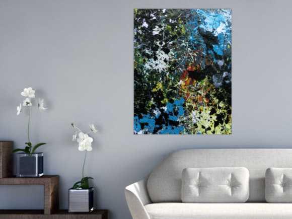 Abstraktes Acrylbild Action Paiting Flecken bunt schwarz blau weiß